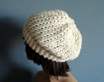 Slouchy Beanie Winter Hat, Knit Hat, in Cream - Winter Accessories