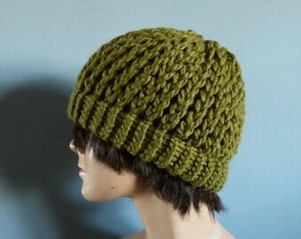 Men's Winter Hat Beanie, Knit Hat, in Cilantro Green - Winter Accessories