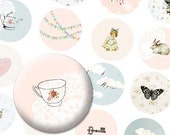 Girly 1 inch button circles digital collage sheet