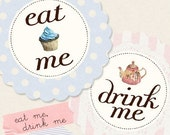 Eat Me Drink Me - Digital PDF Tags for Download and Print