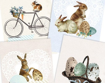 Easter bunnies and eggs- Digital PDF ACEO Tags for Download and Print