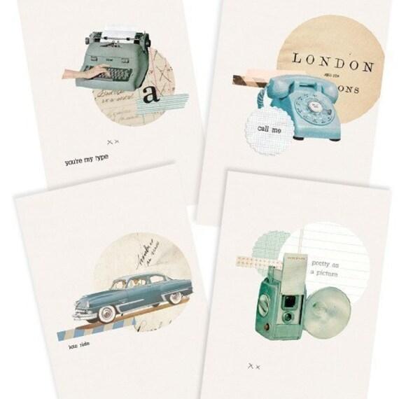 Vintage Flirt Card Set- Digital PDF Cards for Download and Print