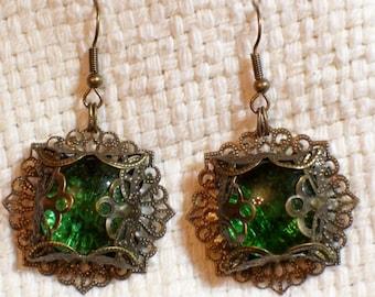 Green Glass Filigree Earrings