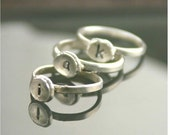 Valentine Sale 20% Off - Recycled sterling silver ring, handstamped initial - custom made to order