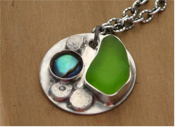 Seaglass necklace sterling silver neckalce shell necklace