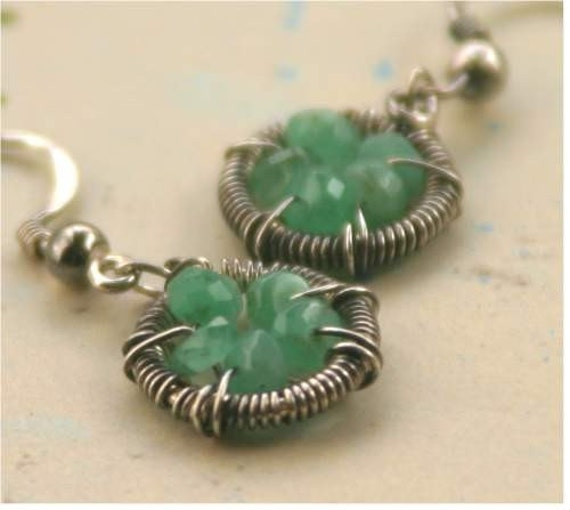 Teeny Tiny Clover Earrings - Oxidized Sterling Silver, Emerald