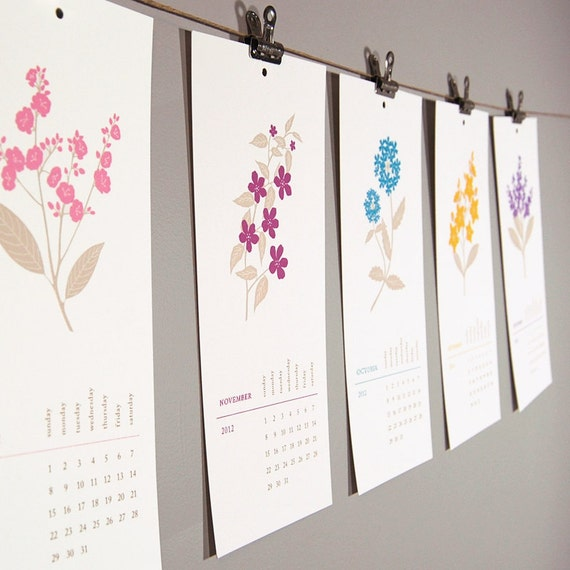 SALE - 2012 Calendar - Pretty Floral Hanging Wall Design