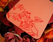 Set of 5 Orange and Red Cherry Blossom Flatnotes and Envelopes