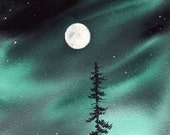 WATERCOLOR northern lights pine moon ORIGINAL PAINTING 6x6