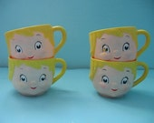 FREE SHIPPING OFFER Cute Vintage Chubby Kids Cups Set Four