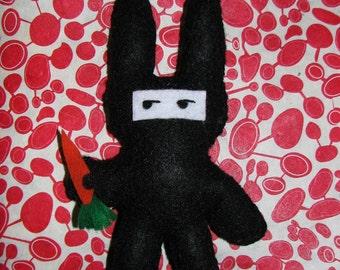Buninja(TM) Felt Doll: bunny by day, ninja by night