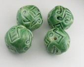 Music Note Green Ceramic Beads