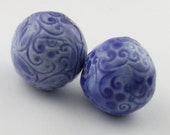 Cobalt Blue Delicate Scroll Ceramic Beads