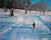 Francie and the Great World, Original Oil Winter Landscape Painting