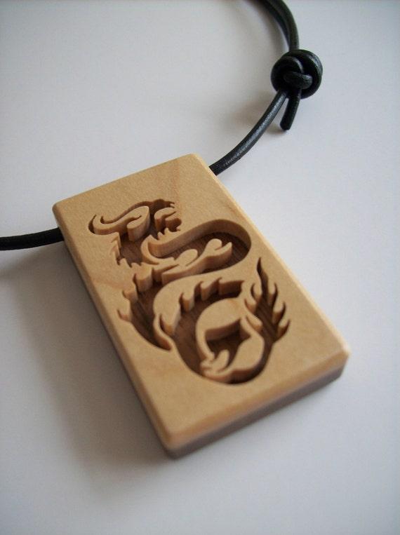 Dragon Pendant - Solid Maple and Black Walnut