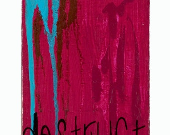 SALE painting our relics, original modern abstract painting in magenta and blue acrylic paint with black ink text on canvas