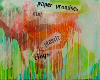 the weight of paper, original modern abstract painting, art acrylic paint in greens, orange and white on canvas with collage text and drips