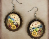 Treasure Bird Wooden Cameo Earrings - Silver Findings