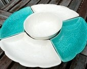 1950s Lazy Susan Aqua & White Chip Dip Ceramic