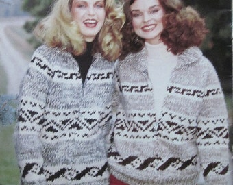 COWICHAN Sweater Knitting PATTERN  Simple Geometric design Adult from Raincoaststudio on Etsy