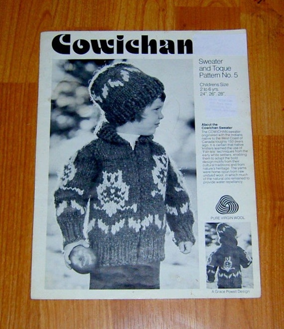 Cowichan sweater knitting pattern Children OWL design outdoors
