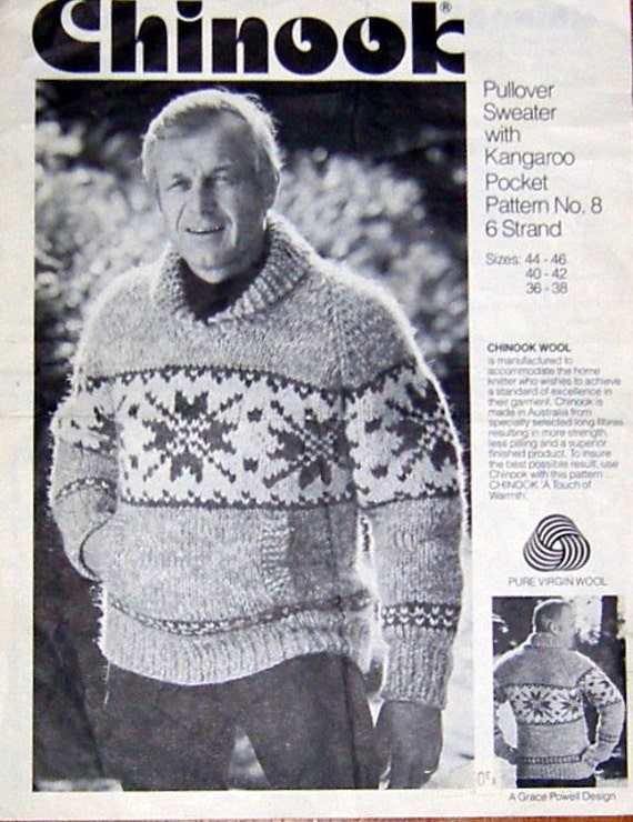 993468cd0 COWICHAN Sweater Knitting Pattern Snowflake Adult Pullover Outdoors ...