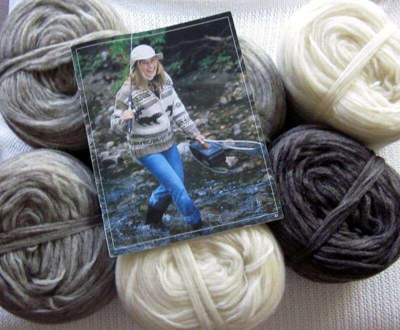 Cowichan Sweater BEAR knitting kit natural grey wool knitting