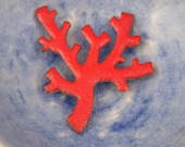 coral branch enameled pendant