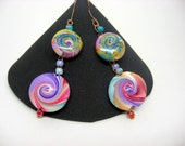 Tropical Twirls - crocheted wire earings