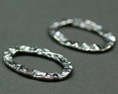 25mm x 17mm Oval Oxidized Sterling Silver Crinkle Links - Set of 2