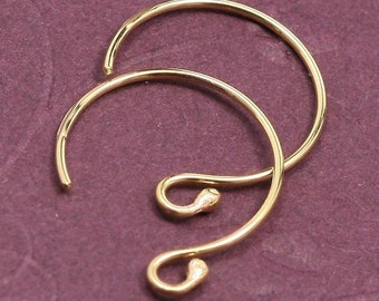 Balled Petite Fancy 14 kt Gold Filled Ear wires - 1 pair
