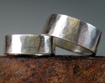"SALE--Organic Hammered Wedding Bands Sterling Silver ""April and Mic"""