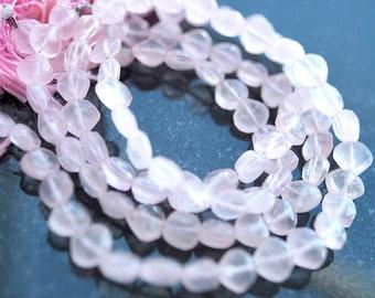 Full Strand, Rose Quartz Faceted Heart Beads, 5-6MM