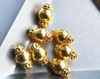 1 Pc, 11MM, 24kt karat Gold Vermeil Bali Dot Bead
