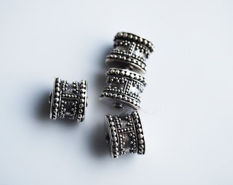 Last Two Beads, 10MM, Sterling Silver Barrel Bali Indonesia Beads