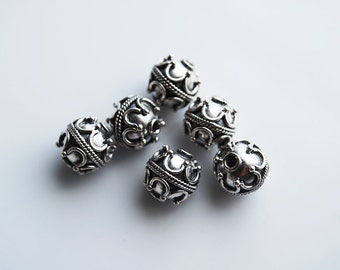 2 Beads, 9MM, Sterling Silver Round Bali Indonesia Beads