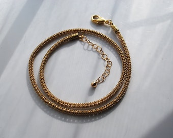 Sale - One 16 Inch Gold-Plated Machine Knitted Chain Necklace with Extender