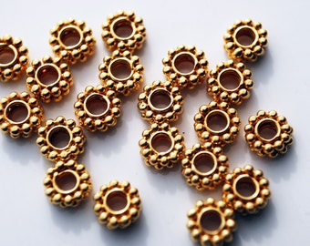 6 Pcs, 6MM, 24kt karat Gold Vermeil Bali Granules Beads