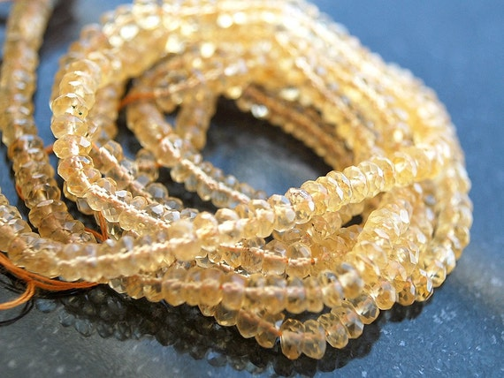 Last one, Half Strand, Citrine Micro Faceted Rondelle Beads, 3x2MM