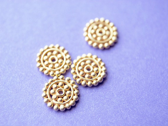 Reserved for creationsdel - 12 Pairs - Large 24kt karat Gold Vermeil Bali Daisy Beads, 8.8MM
