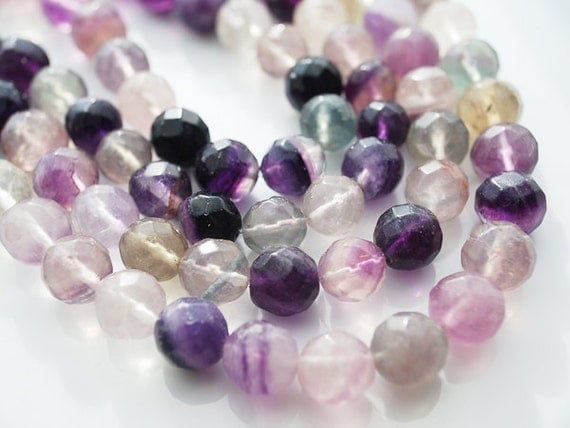 Half Strand, BIG Rainbow Fluorite Faceted Round Beads, 10-11 MM
