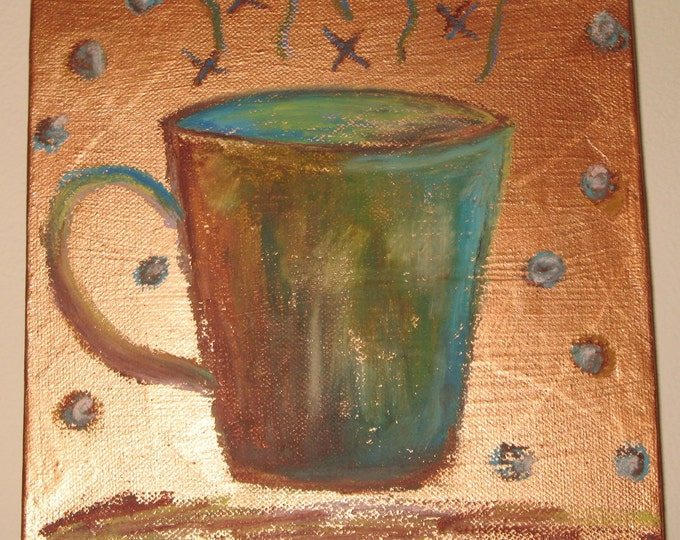 Mocha Latte 8 x 8 Original Mixed Media Coffee Series 2011