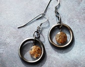 Coffee Color Quartz and Oxidized Sterling Silver Earrings - FREE US SHIPPING