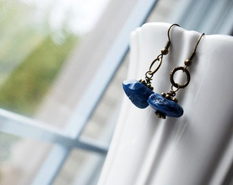 Sale - Unique Blue Agate Hammer Faceted Disc Brass Earrings - FREE US SHIPPING