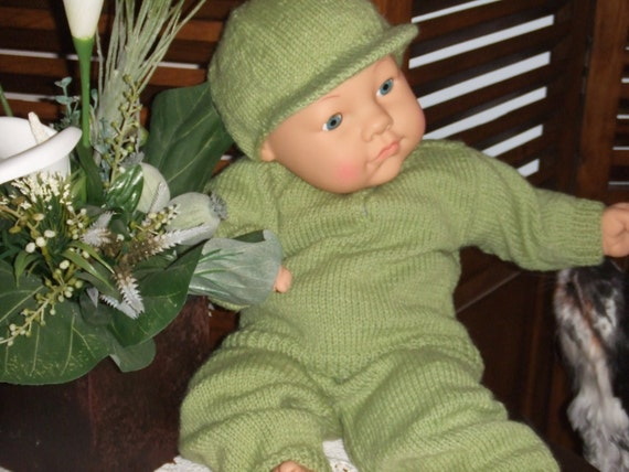 3 Pc Set: PDF Pattern To Knit Infant's Outfit Containing a Pullover Shirt With Drawstring Pants & A Baseball Cap