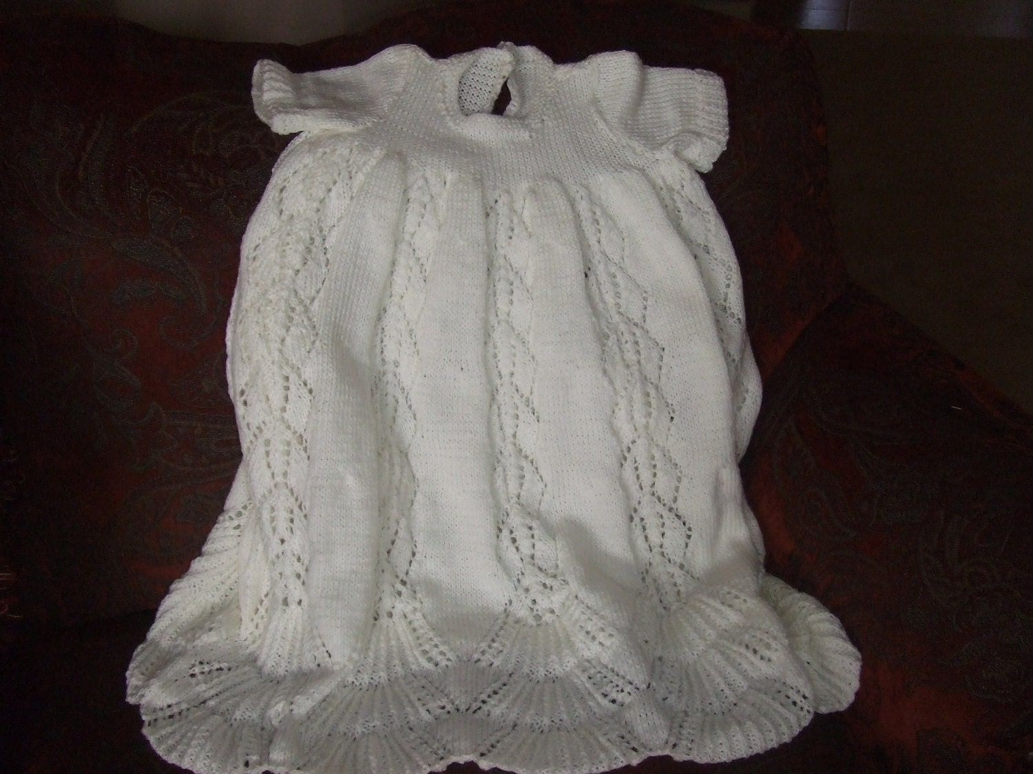 Christening Gown Knit Pattern For Babies Easy Girl Or Boy
