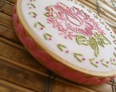 Pink Flower Wall Art - Hand Embroidered