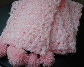 SALE  Hand Crocheted Pink fluffy pom-pom scarf