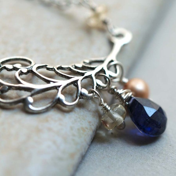 Accented Silver Swirl Leaf Necklace