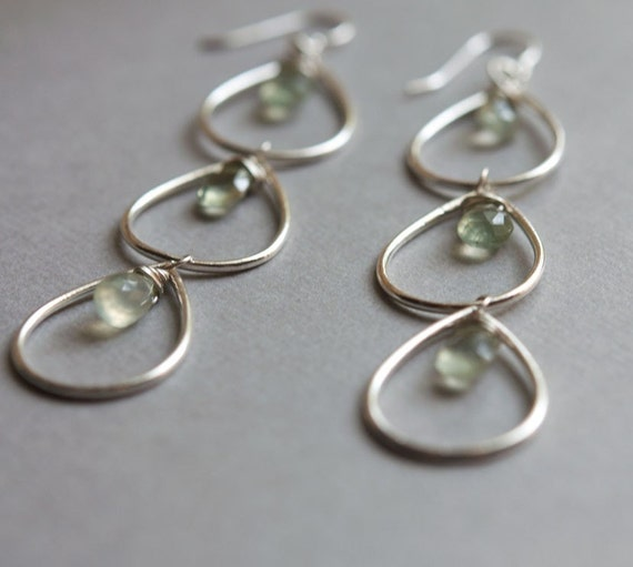 Falling Drops Earrings with Sterling Silver and Prehnite - one of a kind